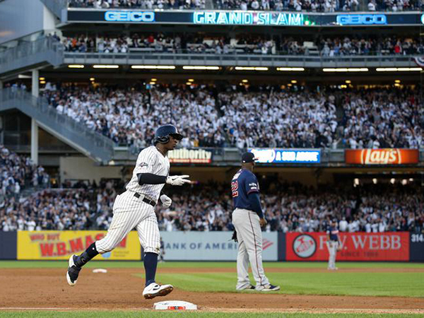 Gregorius grand slam helps Yankees tag Twins in ALDS Game 2