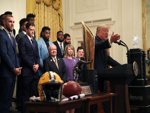 LSU 'Get the Gat' video from Trump's White House tribute goes viral -- and features mystery woman