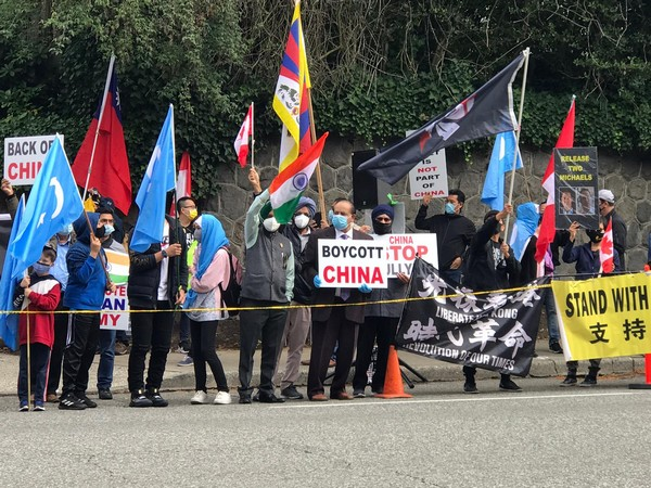 Friends of Canada-India group along with seven other organisations held a protest in Vancouver (Photo/ANI)