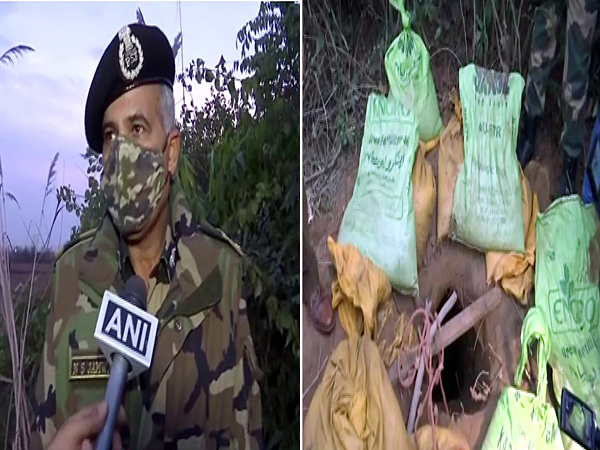 (From left to right) BSF Jammu frontier, Inspector General, N S Jamwal, A tunnel discovered by BSF in J&K's Samba district.