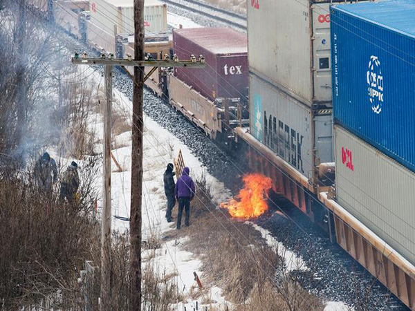 Freight trains moving through burning tire protest near Belleville, Ont.