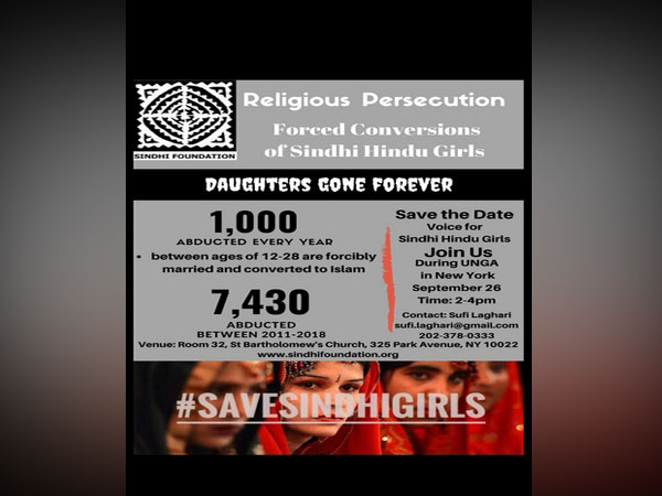 Sindhi Foundation to hold protest against forceful conversion of girls in Pak during UNGA session