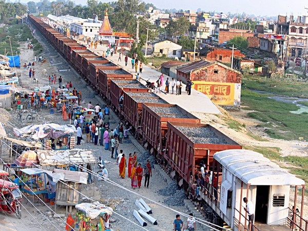 Ongoing construction work of Janakpur-Jaynagar railway line. Photo/ANI