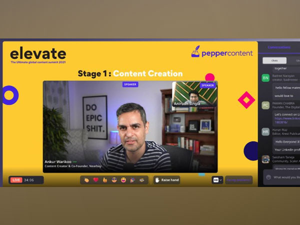 Ankur Warikoo, Content Creator & Co-founder, Nearby and Anirudh Singla, Co-founder & CEO, Pepper Content in a candid conversation during Elevate - the Global Content Summit