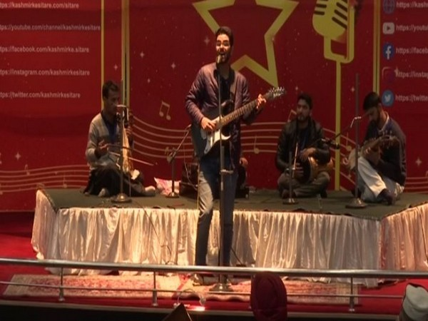 Kashmiri artists performing at the event organised by JKLI in Srinagar on Saturday. (Photo/ANI)