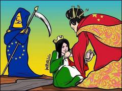 The cartoon shows a suffering Italy receiving assistance from China while the EU stands callously aloof. (Source - Facebook)