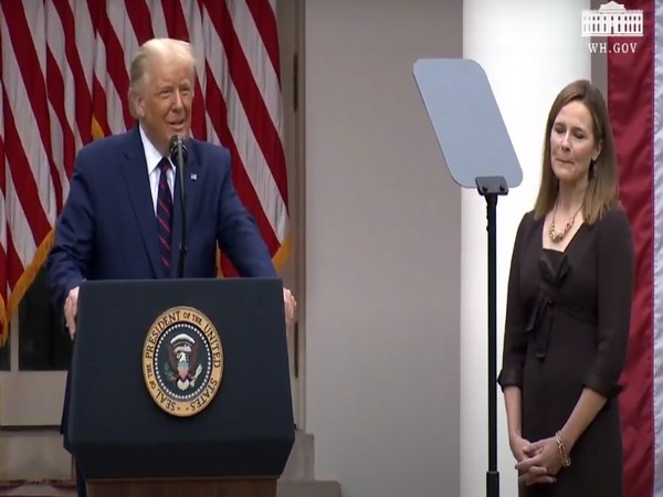 US President Donald Trump with Judge Amy Coney Barrett