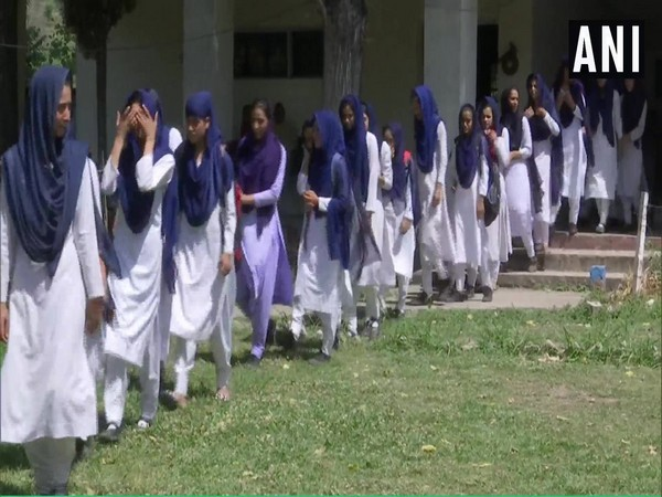 Students at a schools in Rajouri district of Jammu and Kashmir on Monday. Photo/ANI