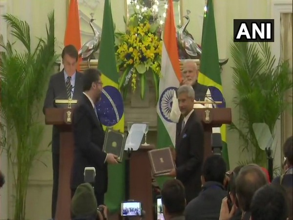 Brazilian President Jair Bolsonaro and Prime Minister Narendra Modi witness exchange of MoUs between two countries in New Delhi on Saturday.