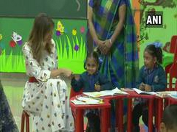US First Lady Melania Trump during Happiness curriculum session in Delhi