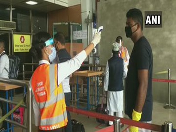 A passenger being screened at the airport in Siliguri on Thursday. Photo/ANI