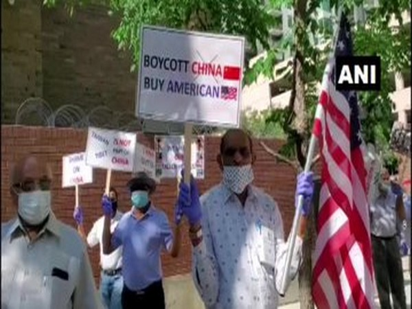 Members of the Indian-American community gather outside Chinese Consulate in Chicago, USA on Friday (local time).