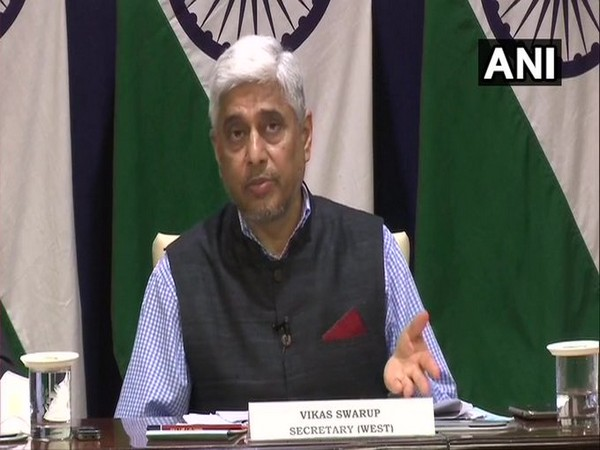 Ministry of External Affairs Secretary (West) Vikas Swarup speaking at a press briefing on Wednesday.