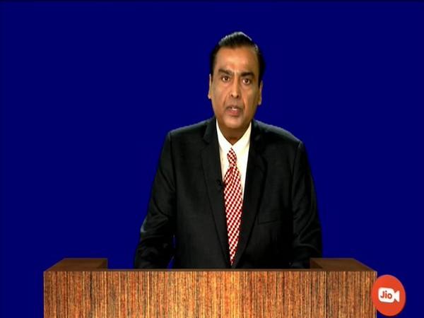 RIL Chairman Mukesh Ambani addressing the 43rd AGM in Mumbai on Wednesday. Photo/ANI