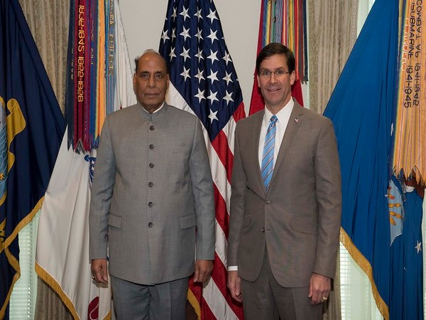 Indian Defence Minister Rajnath Singh with US Defense Secretary Mark T Esper.