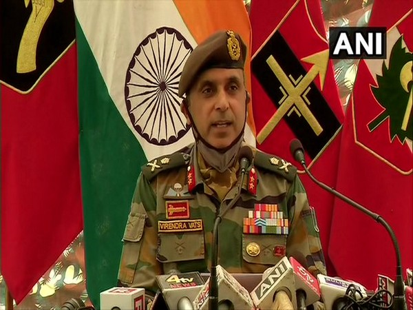 Major General Virendra Vats, GOC 19 Infantry Division, Baramullah, addressing a press conference on Saturday.
