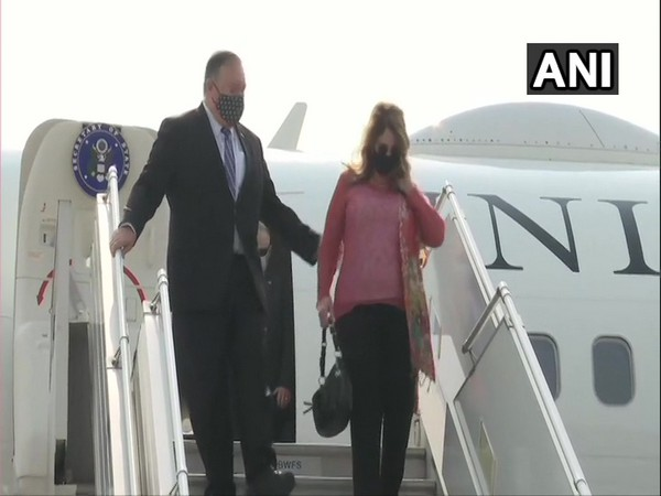US Secretary of State Mike Pompeo along with wife Susan arrive in Delhi (Photo /ANI)