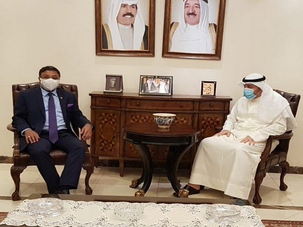 Indian Ambassador to Kuwait, Sibi George, met Nasser Al-Hein, Assistant Foreign Minister for International Organisations, on Wednesday. (Photo credit: Twitter/India in Kuwait)