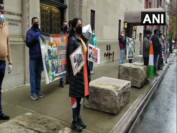 Indian American community stage protest outside Pakistan Consulate in New York on Thursday (local time)