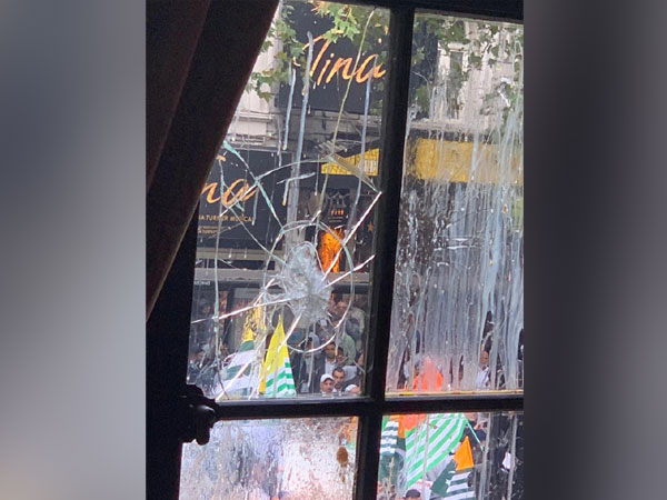 The smashed windowpane of the Indian High Commission in London (File photo)