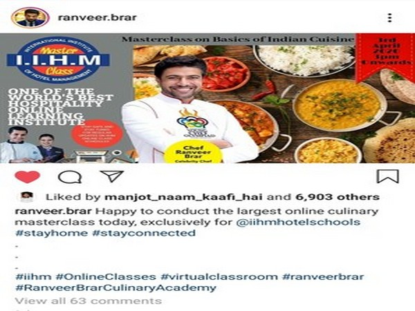 Chef Ranveer Brar conducts largest online culinary masterclass exclusively for IIHM students before e-Chat exam