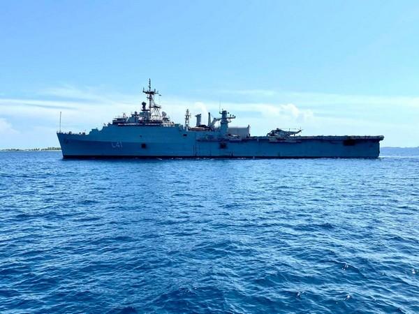 INS Jalashwa entering Male port under Operation Samudra Setu to repatriate Indians from Maldives