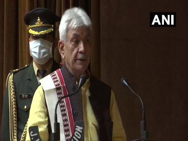Lieutenant Governor of Jammu and Kashmir Manoj Sinha addresses press conference in Srinagar on Thursday. Photo/ANI