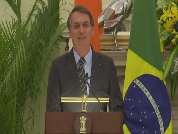 President Jair Bolsonaro speaking at a press briefing in New Delhi on Saturday. Photo/ANI