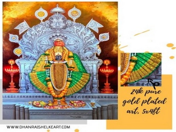 24k pure gold and oil on canvas art by artist Dhanraj Shelke (lord Mahalaxmi kolhapur 5x4ft)