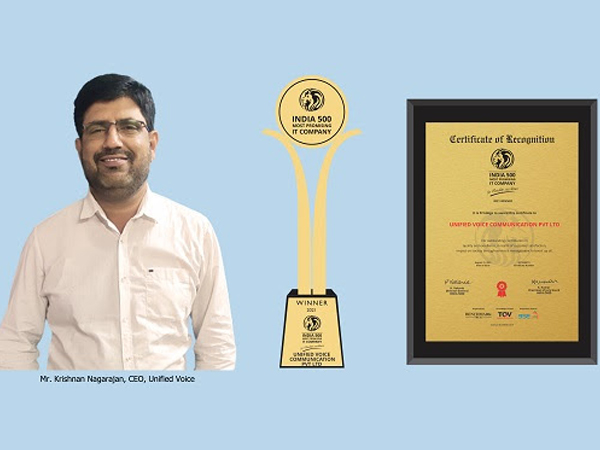 Unified Voice bags India 500 Most Promising IT Company Award 2021 for quality excellence