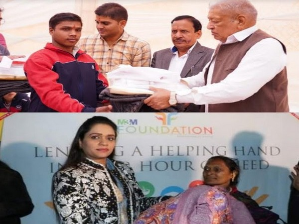 Lal Chand Bansal, Founder, M3M Foundation and Dr Payal Kanodia, Trustee, M3M Foundation distributing blankets