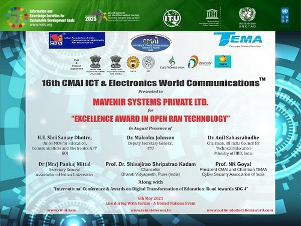 Mavenir awarded 'Excellence in Open RAN Technology' at 16th CMAI ICT and Electronics World Communication Summit and Awards 2021