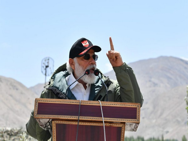 Prime Minister Narendra Modi addressing soldiers in Ladakh's Nimmoo on Friday. Photo/ANI