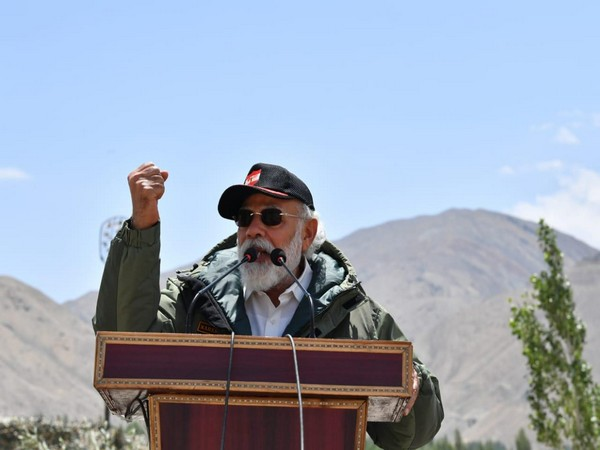 Prime Minister Narendra Modi while addressing the soldiers in Ladakh on Friday (Photo/ANI)