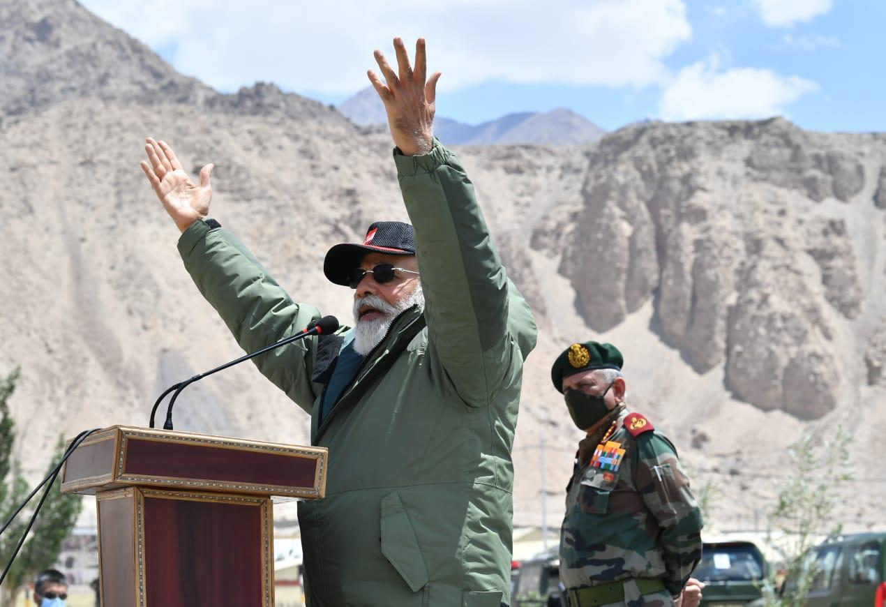 Prime Minister Narendra Modi while addressing the soldiers in Nimmoo, Leh on Friday. (Photo/ANI)