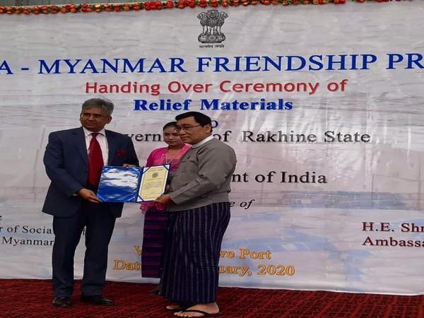 Ambassador of India to Myanmar Saurabh Kumar with Chief Minister of Rakhine State Nyi Pu in Sittwe city