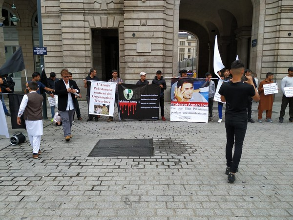 Members of the Pashtun Tahafuz Movement (France) organise protest at Rennes, France on Sunday.
