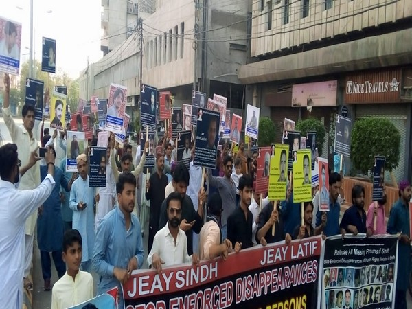 Protest outside Karachi Press Club against enforced disappearances