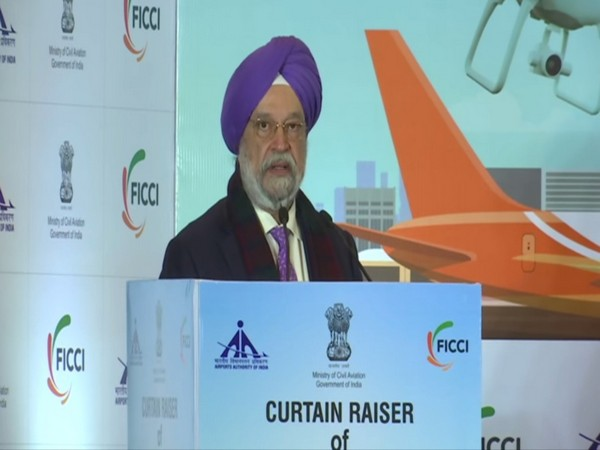 Union Civil Aviation Minister Hardeep Singh Puri at curtain raiser event for WINGS India 2020 on Thursday. Photo/ANI