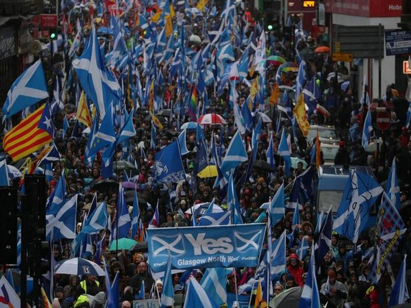 Demonstrators march for Scottish Independence through Glasgow City centre