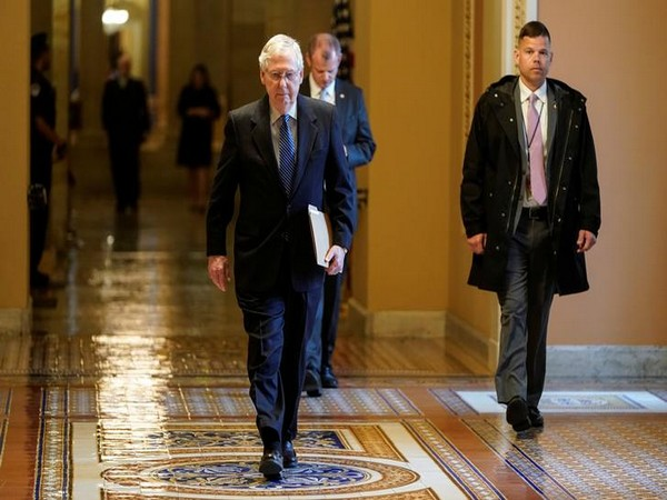 Senate Majority Leader Mitch McConnell (R-KY) arrives during negotiations on a coronavirus disease.
