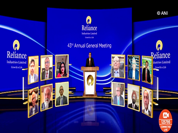 RIL Chairman and Managing Director Mukesh Ambani addressing the company's 43rd AGM