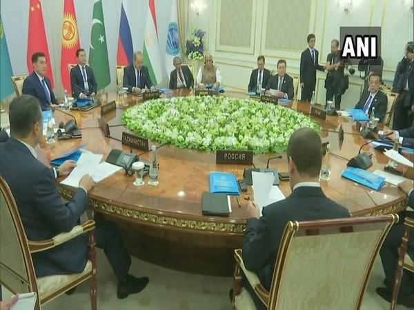 Defence Minister Rajnath Singh at SCO meeting in Tashkent in November 2019. (Photo/ANI)