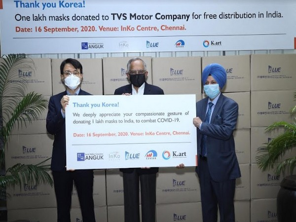 South Korea donates one lakh masks to TVS Motor Company