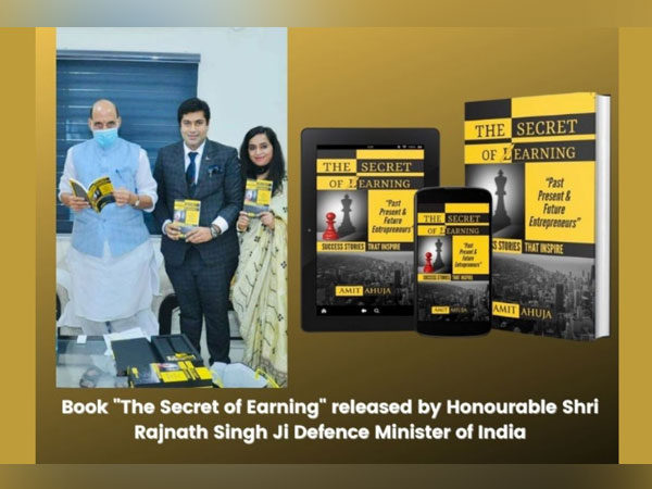 """Defence Minister Rajnath Singh released pioneer Indian author Amit Ahuja's book """"The Secret Of Earning""""."""