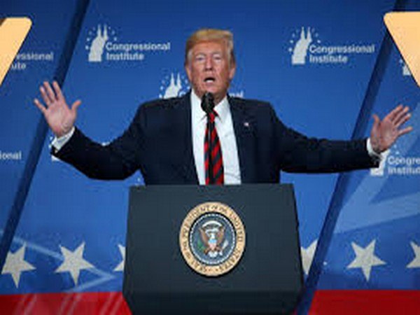 US President Donald Trump addressing a rally in Colorado on Thursday