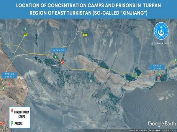 Location of 15 detention facilities in Turpan, Xinjiang (Photo source: East Turkistan National Awakening Movement Twitter)