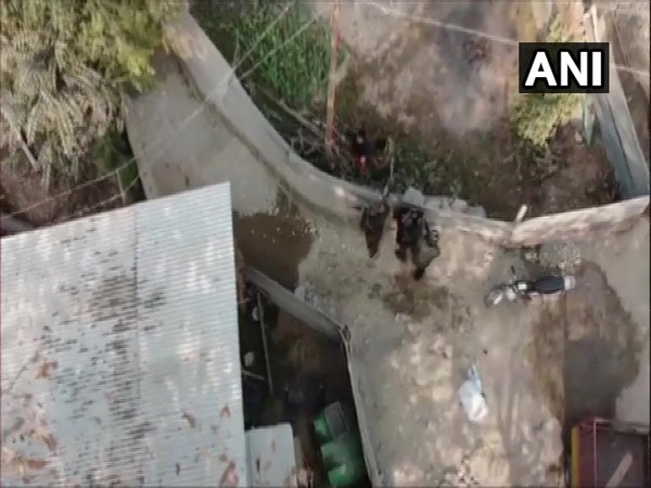 An aerial view of the encounter site in Pulwama on Friday. (Photo/ANI)