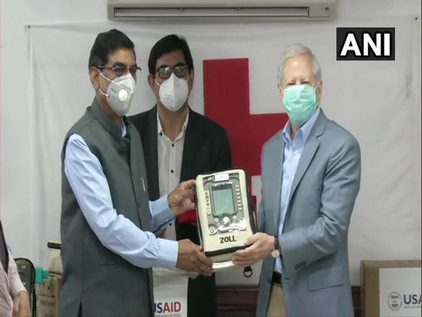 First 100 ventilators from United States Agency being handed to Indian official at the Indian Red Cross Headquarters in New Delhi.