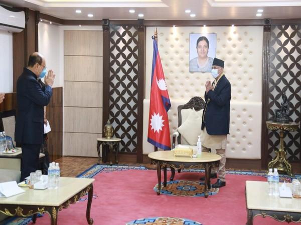 Foreign Secretary Harsh Shringla with Nepal PM KP Sharma Oli.